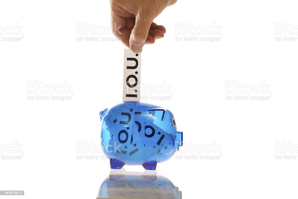 Piggy Bank filled with IOUs stock photo