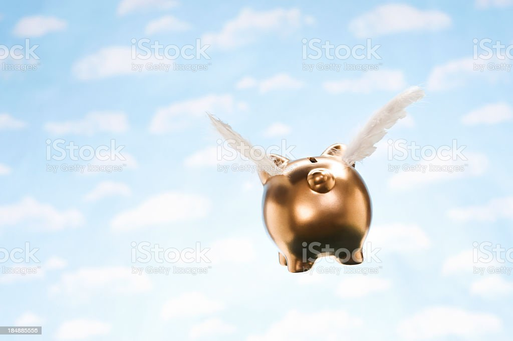 Piggy Bank Flying Away royalty-free stock photo