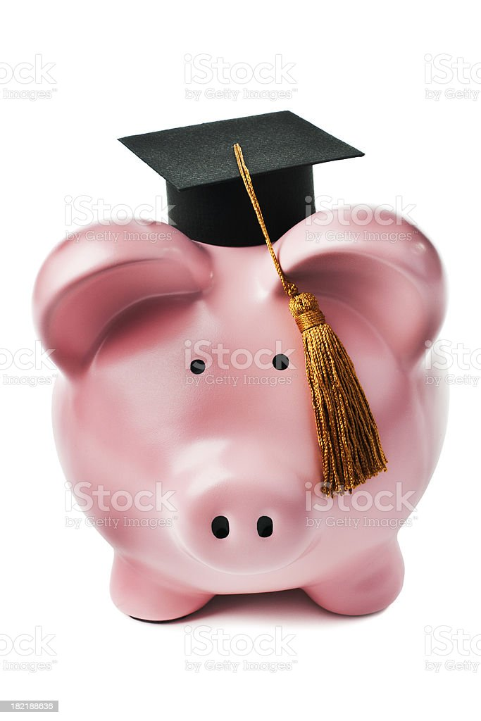 Piggy Bank for Student Graduation Savings, Education Loans, and Finances royalty-free stock photo