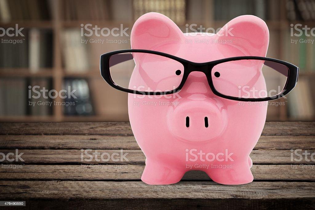 Piggy Bank, Glasses, Intelligence stock photo