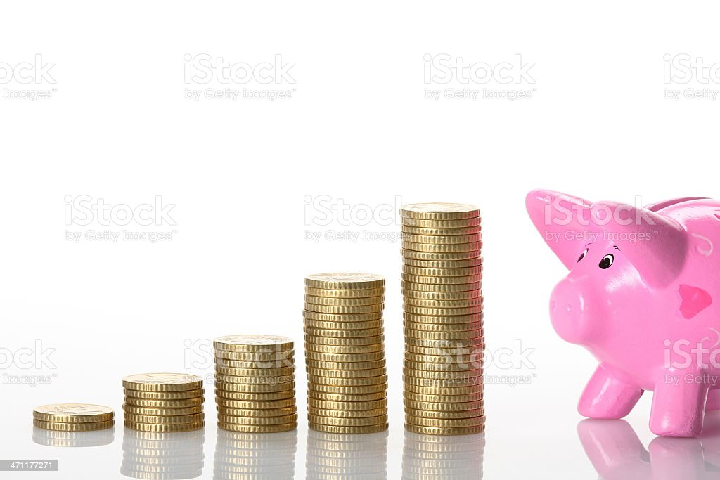 Piggy bank graph royalty-free stock photo