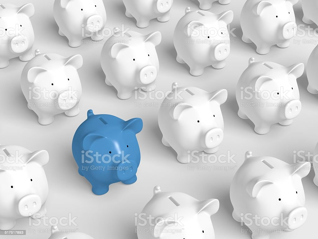 Piggy bank - grid with blue pig stock photo