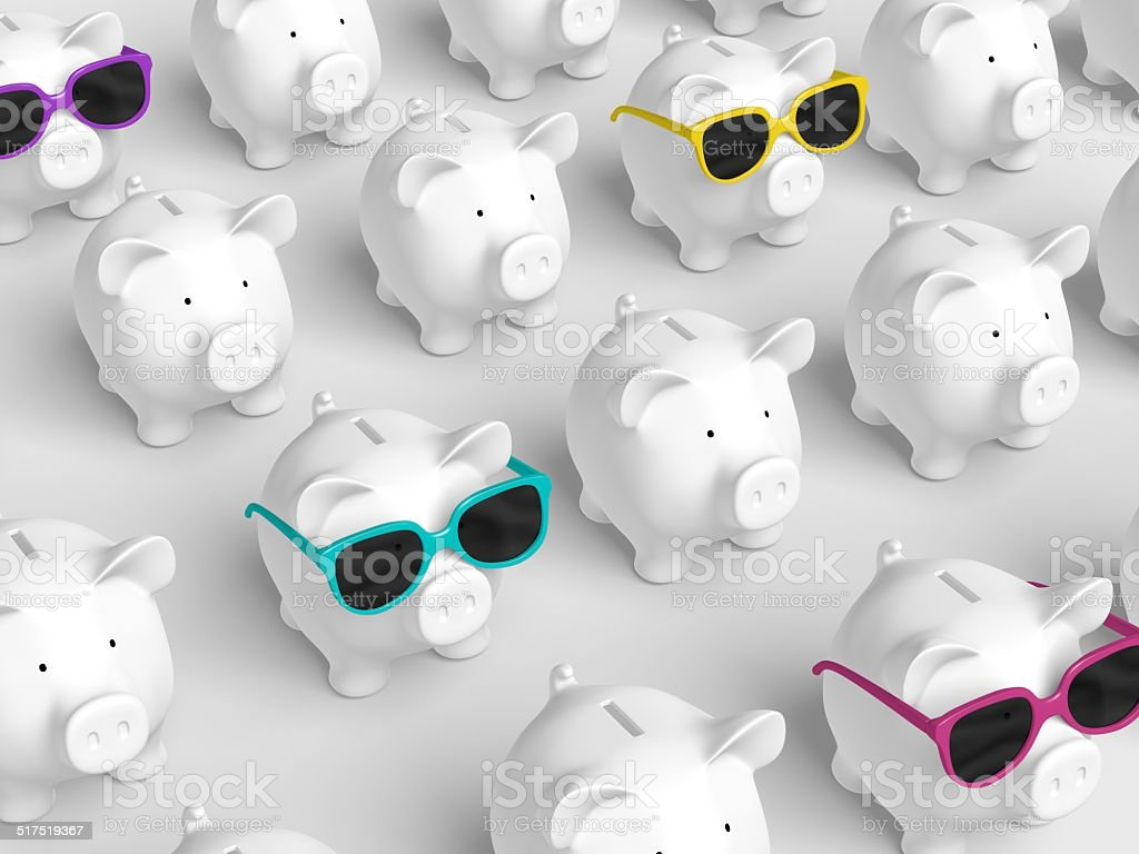 Piggy bank - grid with pigs with colorful sunglasses stock photo