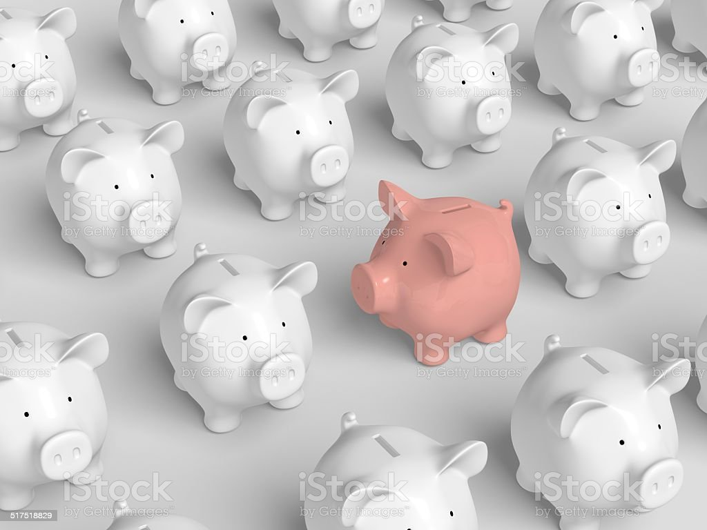 Piggy bank - grid with pink other direction stock photo