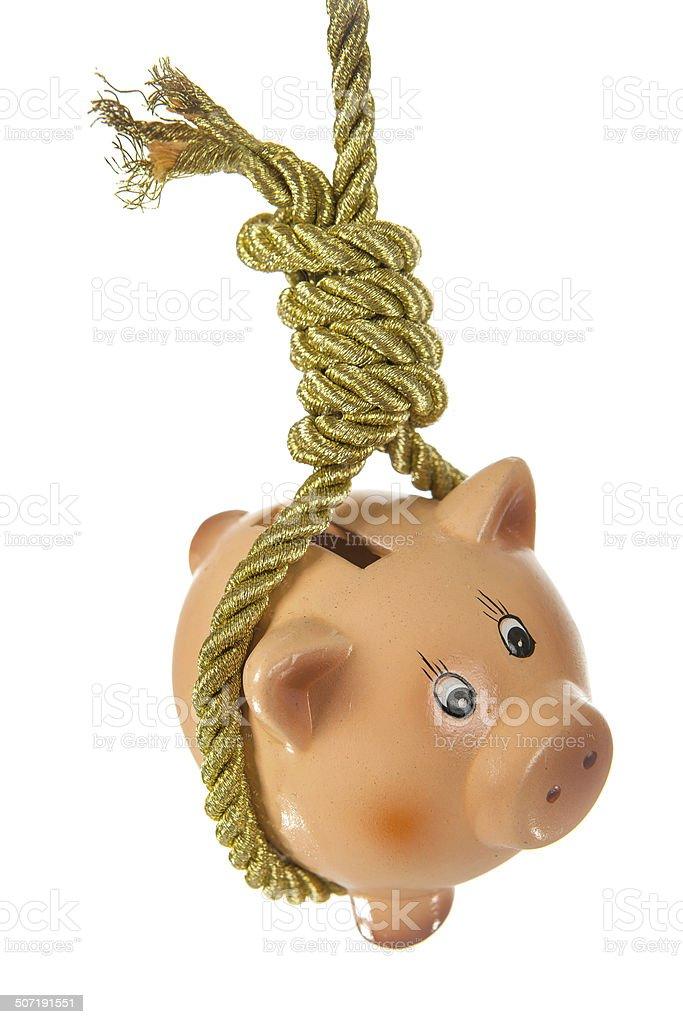 Piggy bank hanging on hangmans noose stock photo