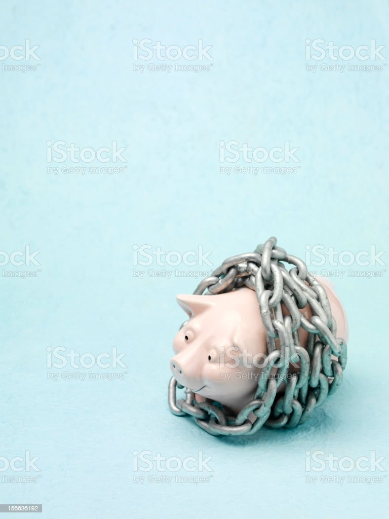 Piggy Bank In Chains royalty-free stock photo