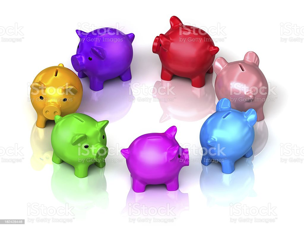 piggy bank in circle royalty-free stock photo