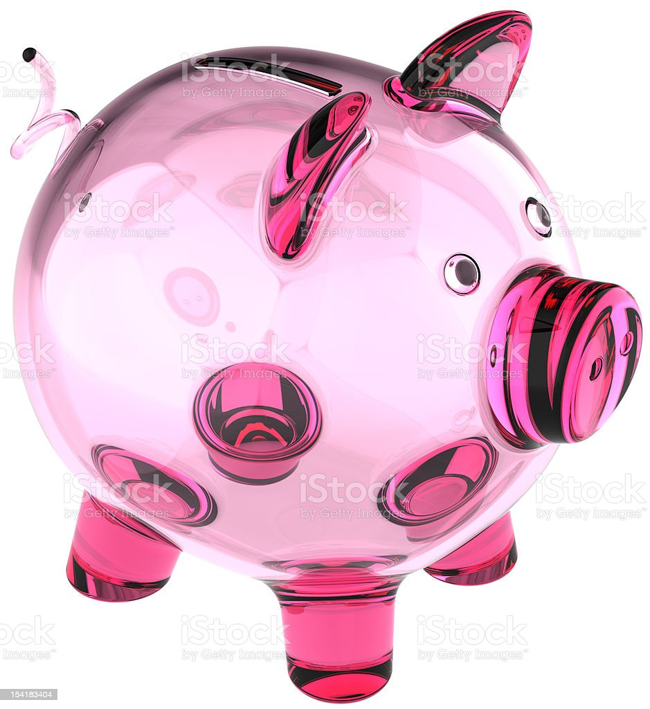 Piggy bank in glass without money. Empty donation box translucent royalty-free stock photo