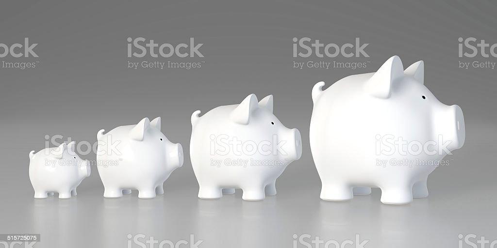 Piggy bank - increasing size (profile) stock photo