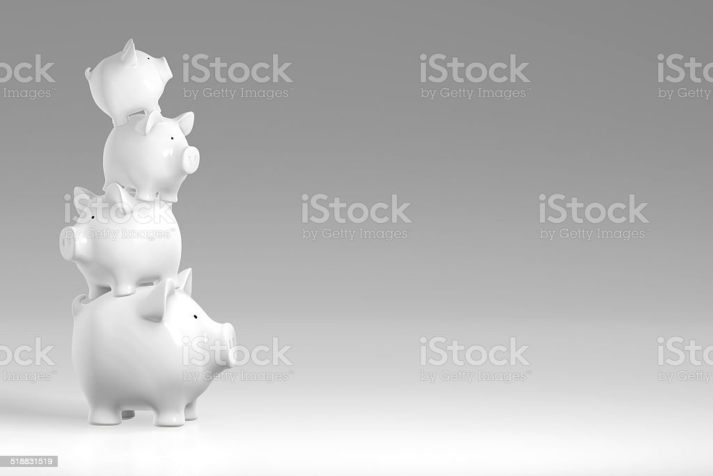 Piggy bank - irregular stack of pigs stock photo