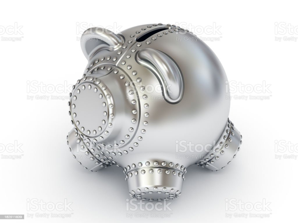 Piggy bank made of steel. royalty-free stock photo