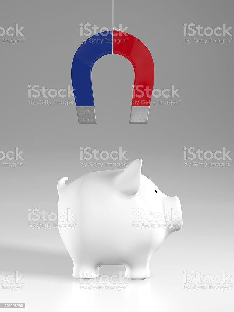 Piggy bank - magnet (profile) stock photo