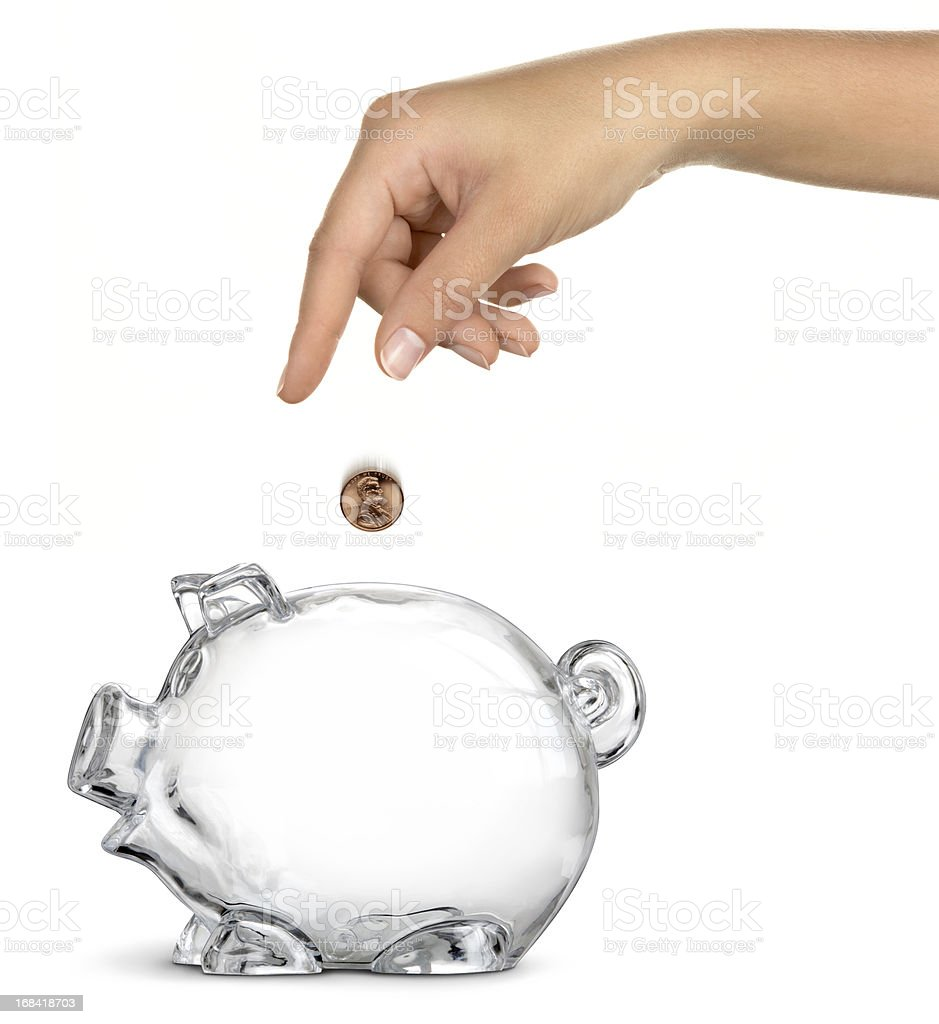 Piggy Bank No Savings - Female royalty-free stock photo