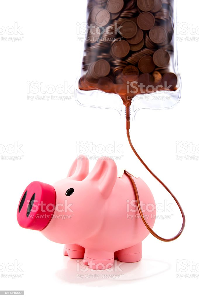 Piggy Bank on an IV of pennies stock photo