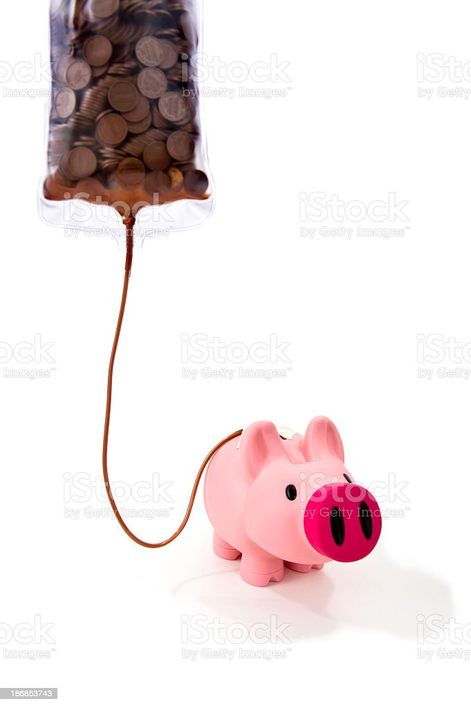 Piggy Bank on an IV of pennies royalty-free stock photo