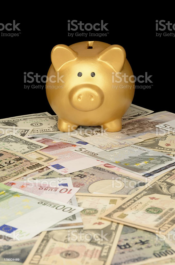 Piggy Bank on Banknotes royalty-free stock photo