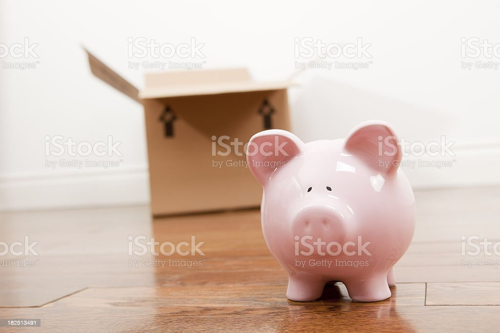 Piggy Bank On Moving Day royalty-free stock photo