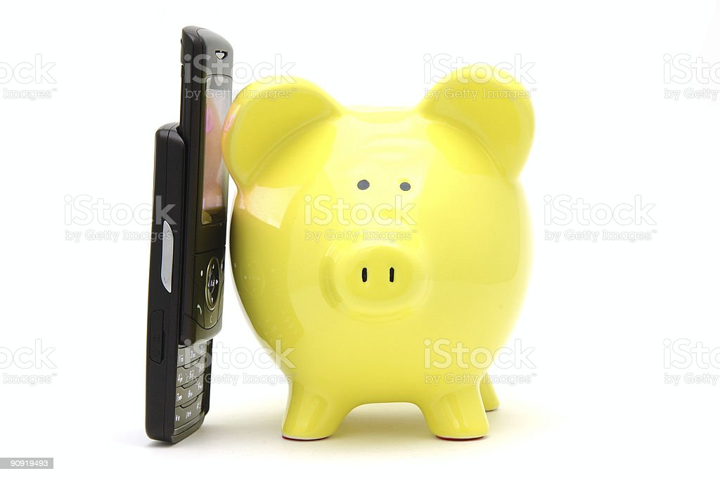 Piggy bank on phone royalty-free stock photo