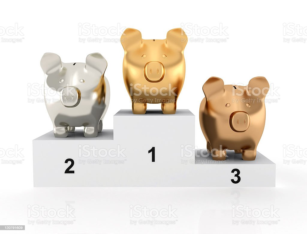 Piggy bank on the podium royalty-free stock photo