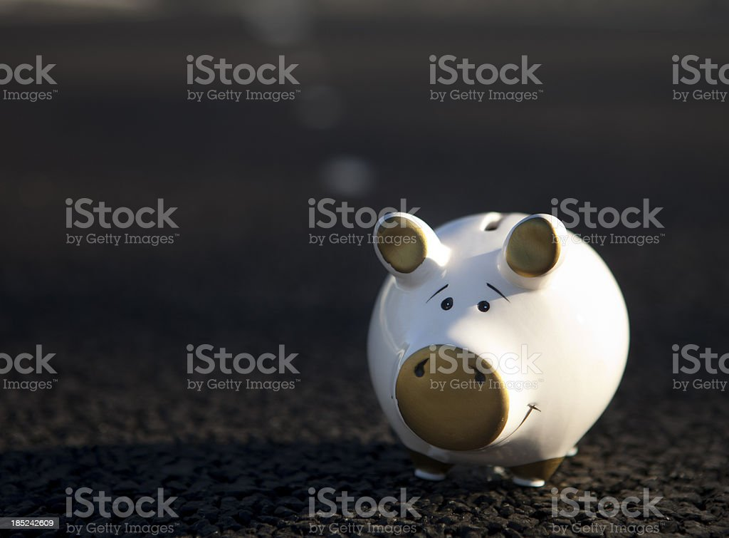 Piggy bank on the way to great fortune stock photo