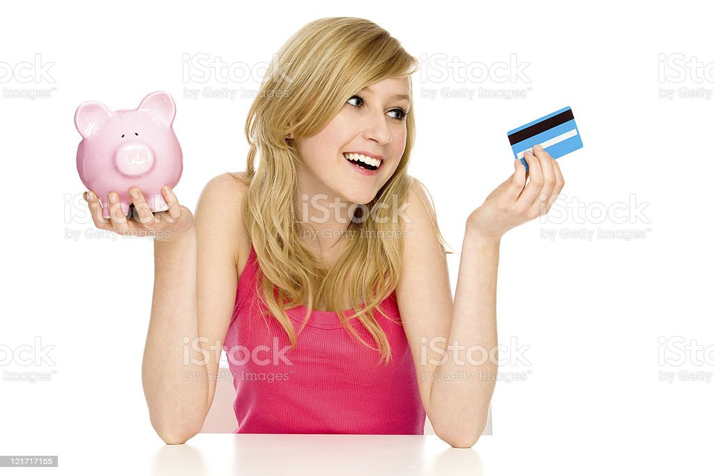 Piggy bank or credit card stock photo