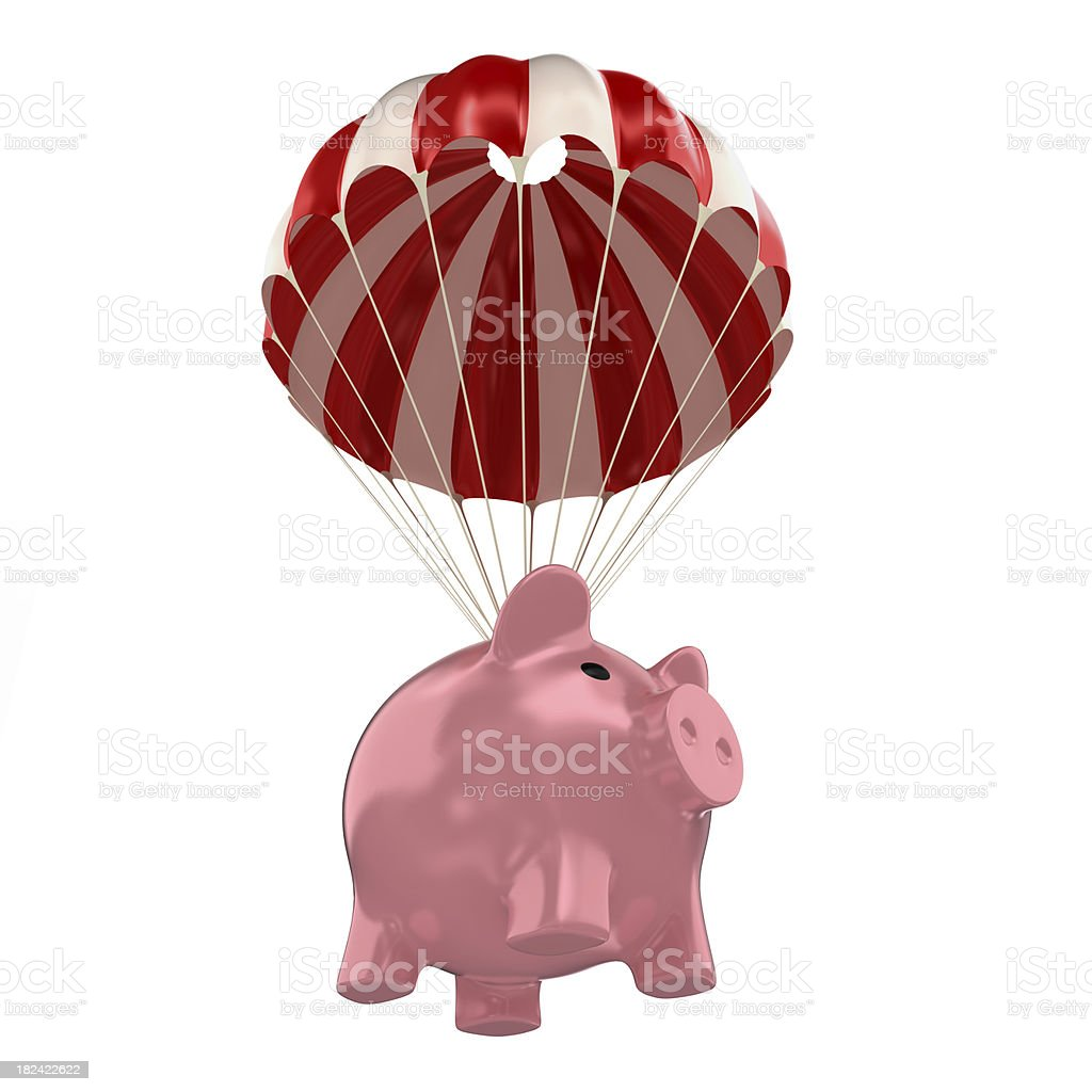 piggy bank paratrooper royalty-free stock photo