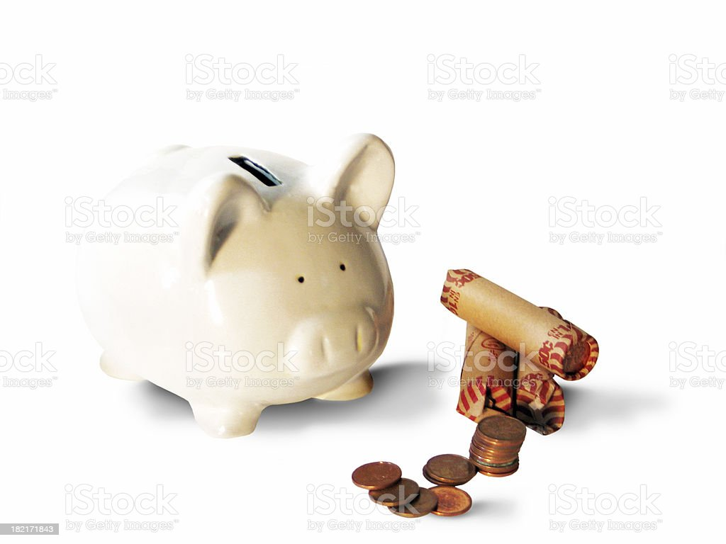 piggy bank & pennies royalty-free stock photo