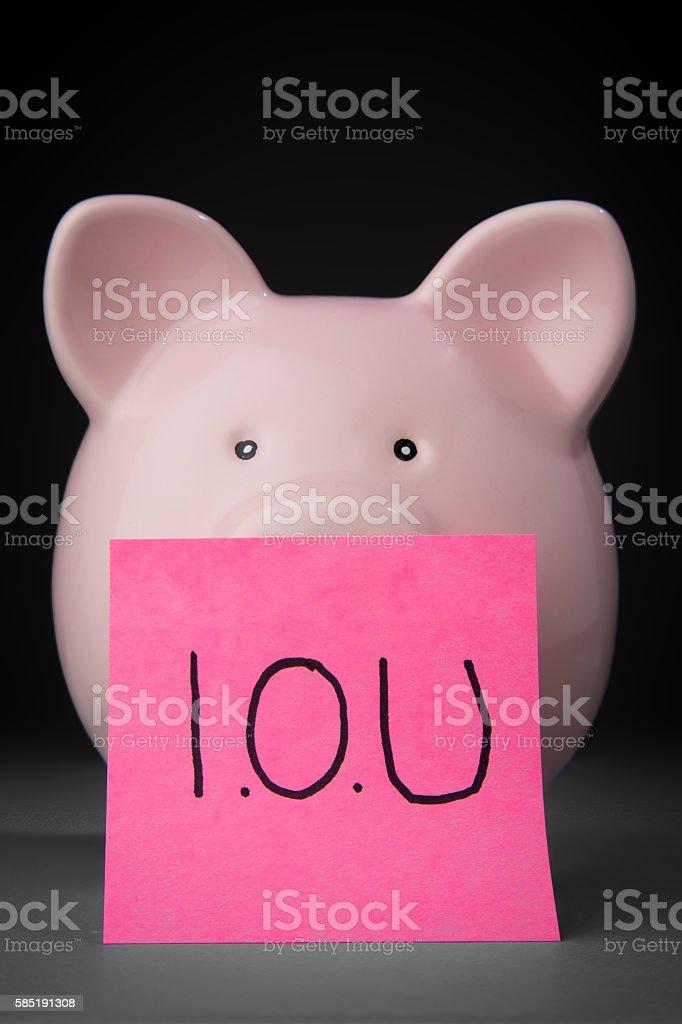 IOU Piggy Bank stock photo