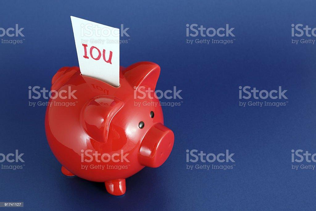 Долговая расписка Свинья-копилка Стоковые фото Стоковая фотография