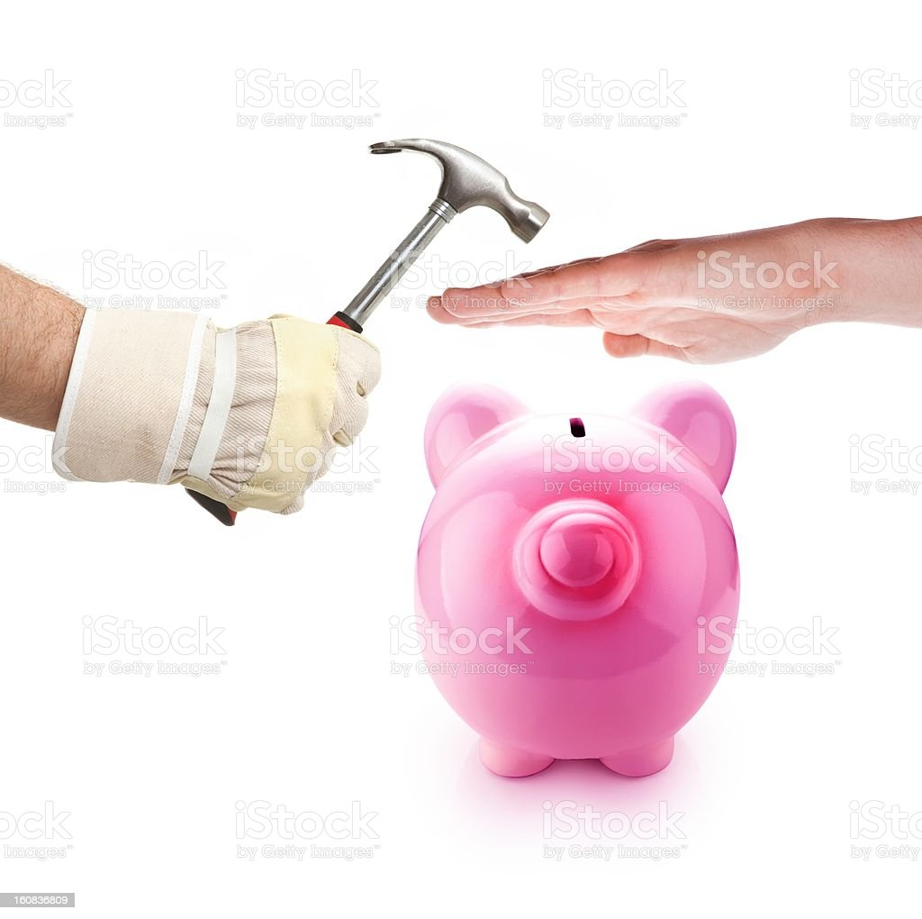 Piggy bank protection stock photo