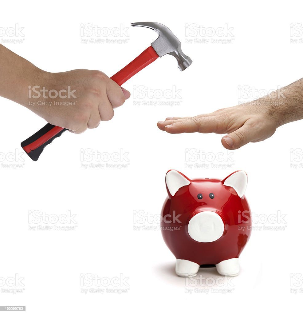 Piggy bank protection stock photo