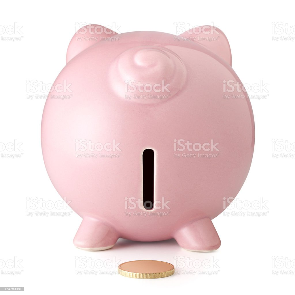 Piggy bank. Rear view. stock photo