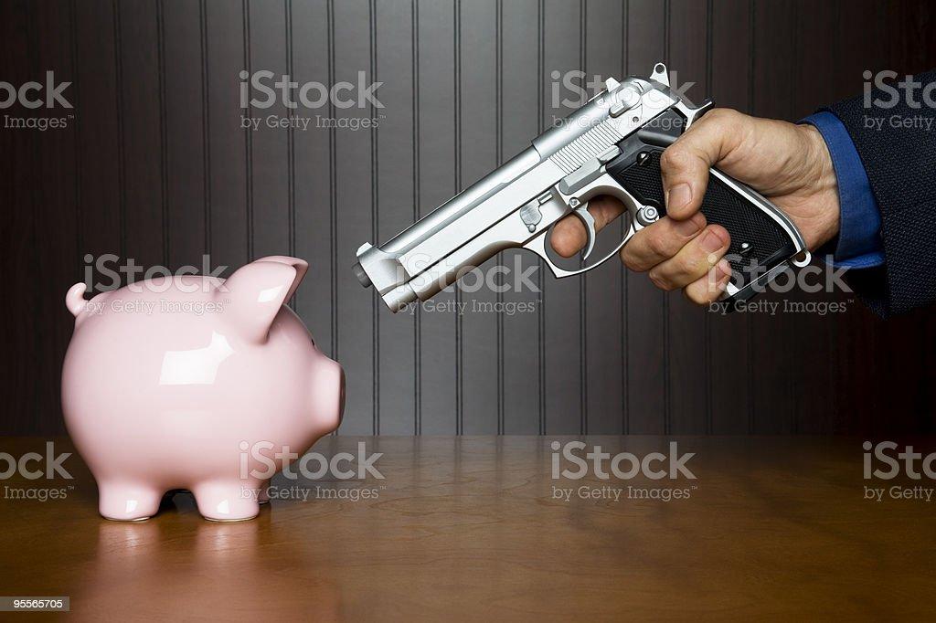 Piggy bank robbery stock photo