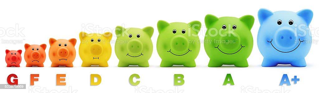piggy bank scale energy savings stock photo