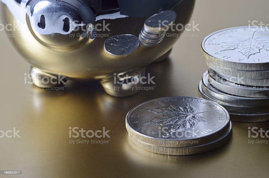 Piggy bank silver savings stock photo