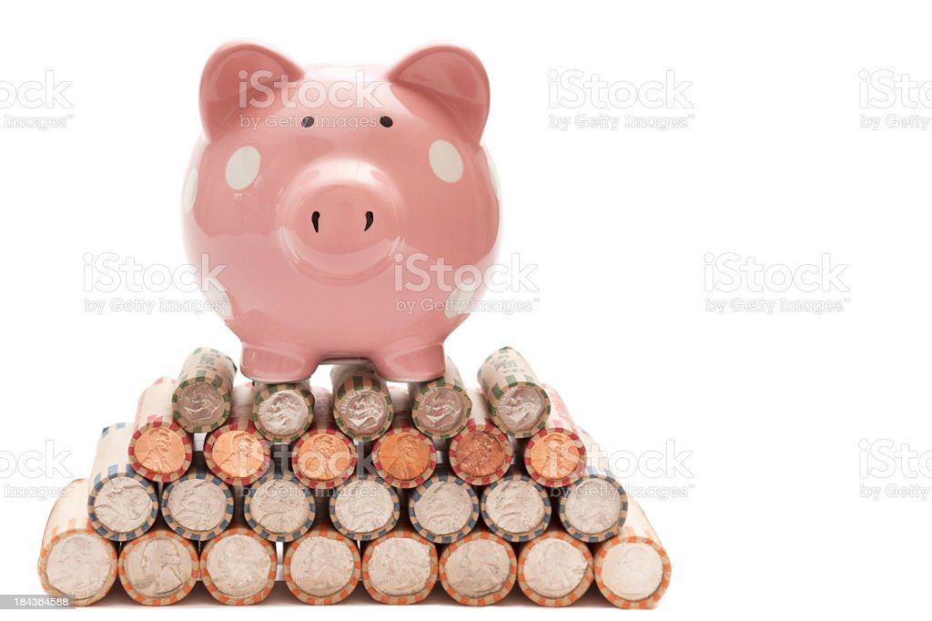 Piggy Bank Standing on Top of Rolled Coins stock photo