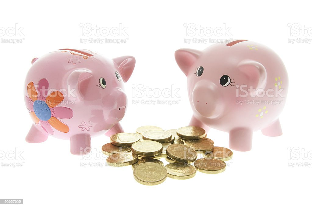 Piggy Bank swith Coins stock photo