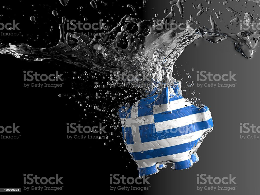 Piggy bank - water splash (greek) stock photo