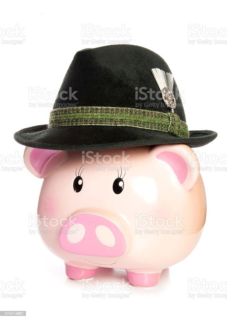 piggy bank wearing bavarian beer hat stock photo
