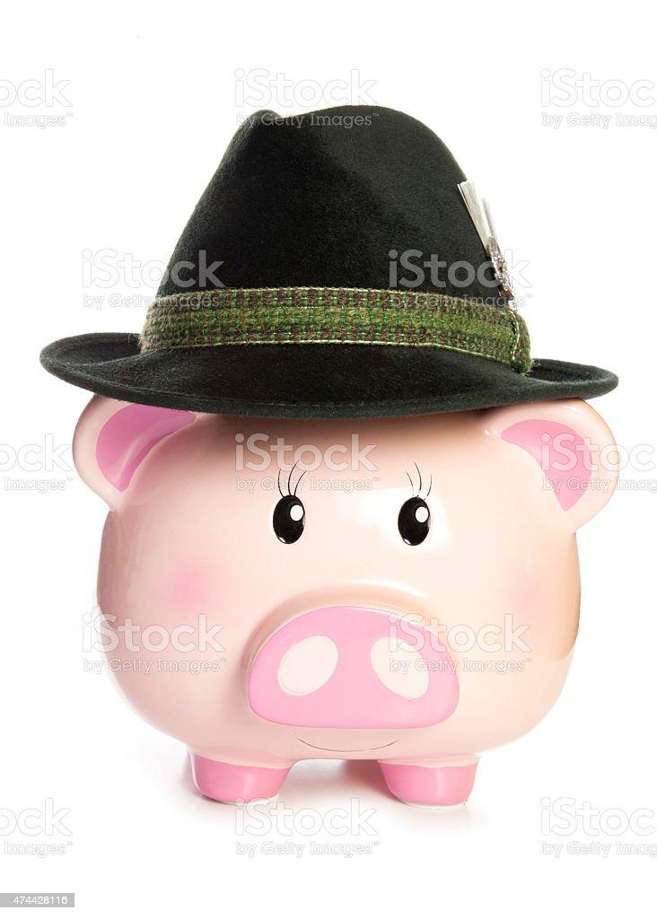 piggy bank wearing bavarian hat stock photo
