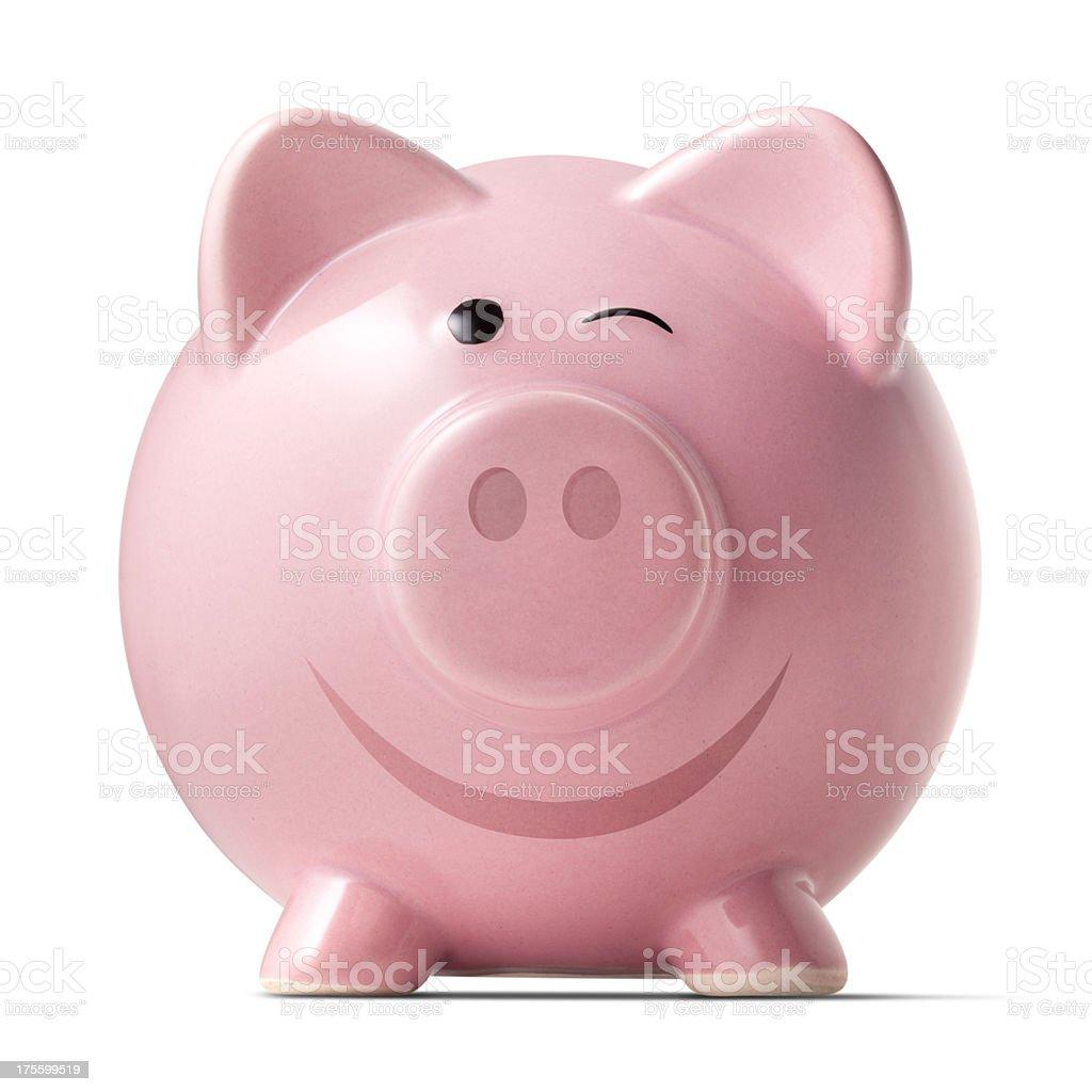 Piggy bank winking stock photo