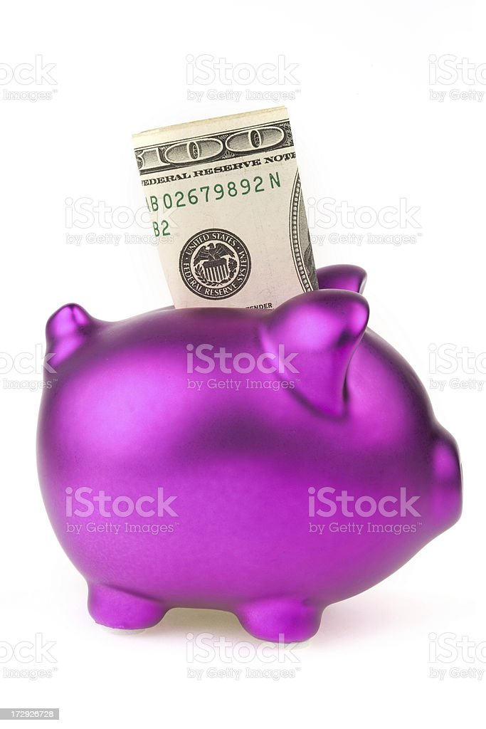 piggy bank with $100 inside royalty-free stock photo