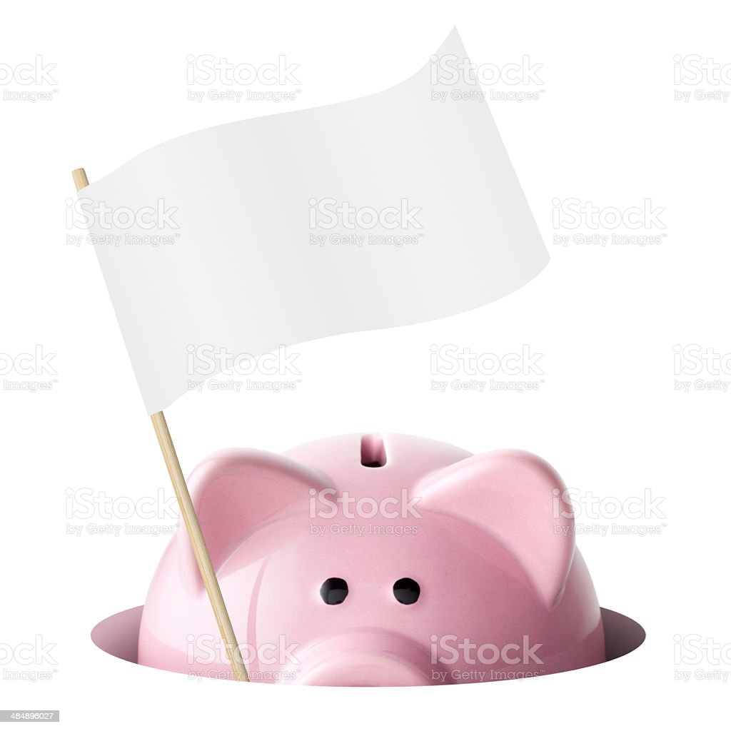 Piggy bank with a white flag of surrender stock photo