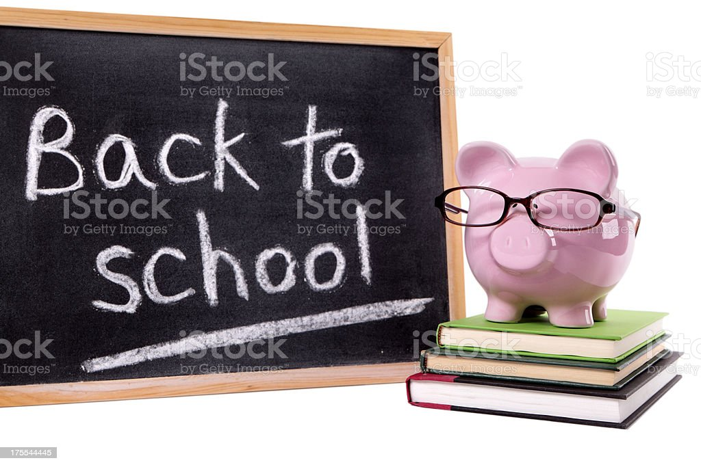 Piggy Bank with back to school message royalty-free stock photo