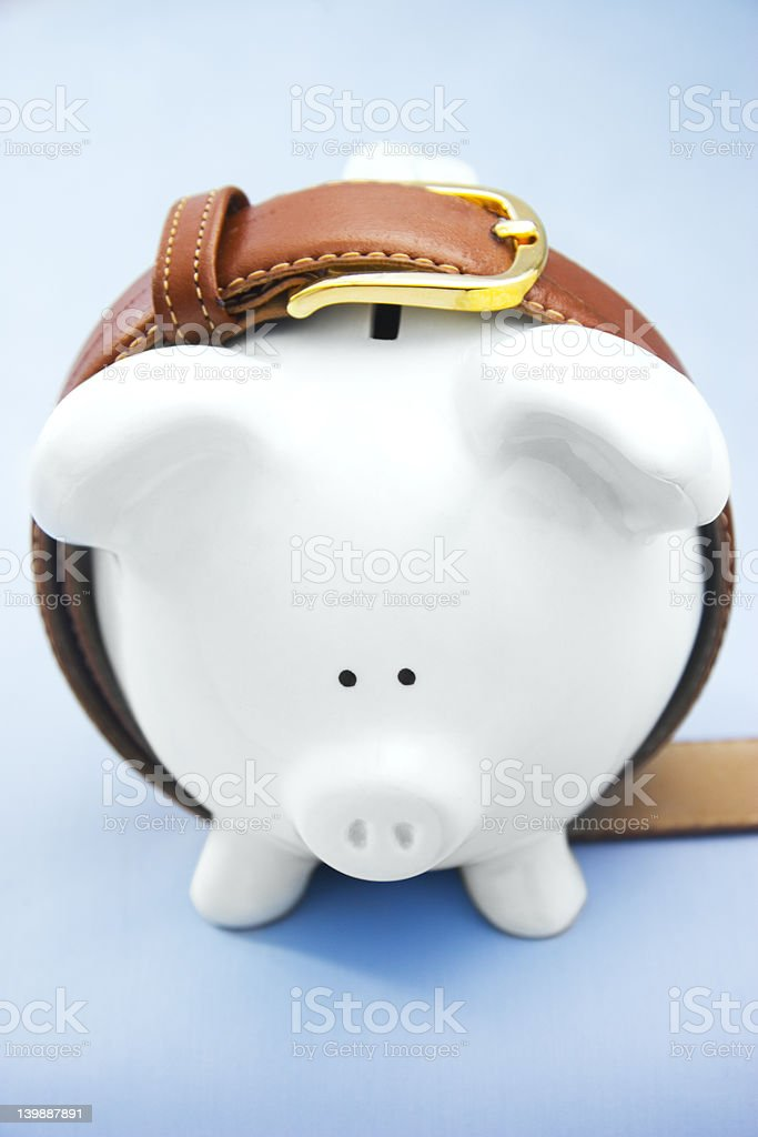 Piggy Bank with Belt royalty-free stock photo