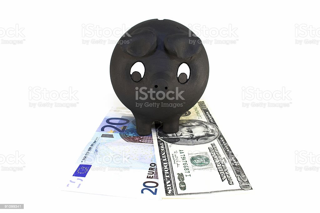 Piggy bank with bills. royalty-free stock photo