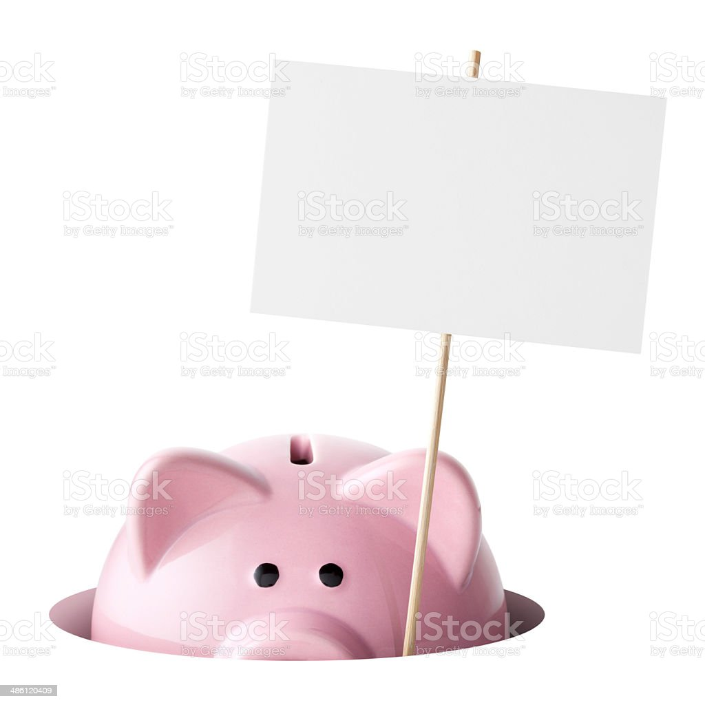 Piggy bank with blank placard royalty-free stock photo