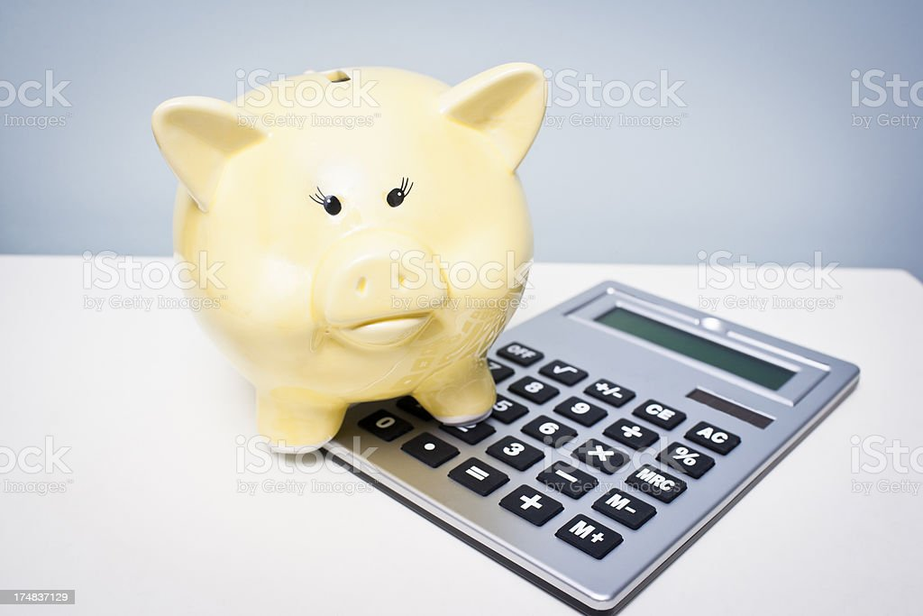 Piggy bank with calculator on a white background royalty-free stock photo