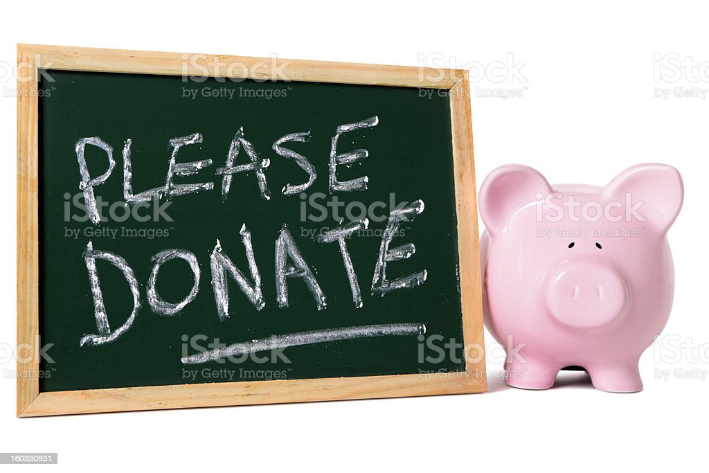 Piggy bank with charity message royalty-free stock photo