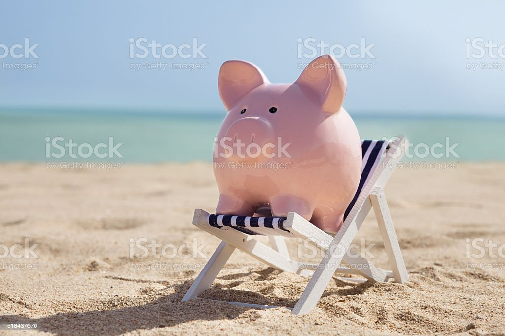 Piggy Bank With Deckchair stock photo